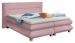 BOXSPRINGBETT Webstoff 180/200 cm  INKL. Matratze, Topper - Silberfarben/Rosa, Design, Kunststoff/Textil (180/200cm) - Linea Natura
