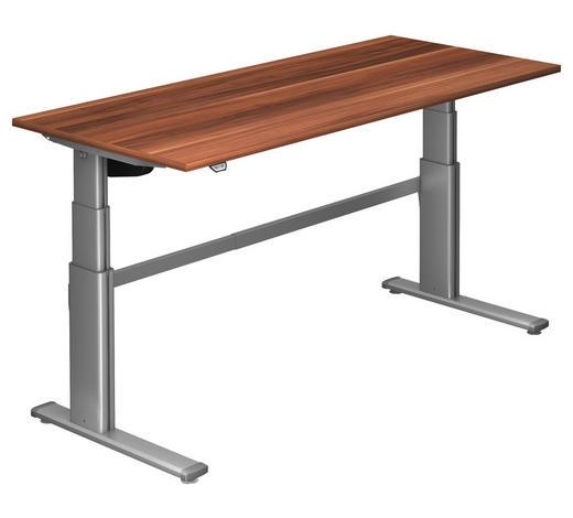 SCHREIBTISCH - Silberfarben/Zwetschgefarben, Design, Holzwerkstoff/Metall (180/66-130/80cm)