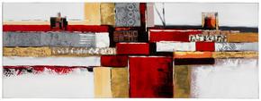 OLJEMÅLNING - röd/grå, Design, metall/trä (150/55cm) - Monee