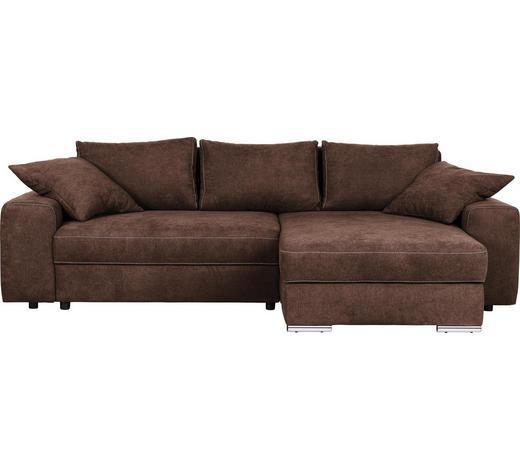 WOHNLANDSCHAFT in Textil Braun  - Chromfarben/Braun, Design, Textil/Metall (283/179cm) - Hom`in