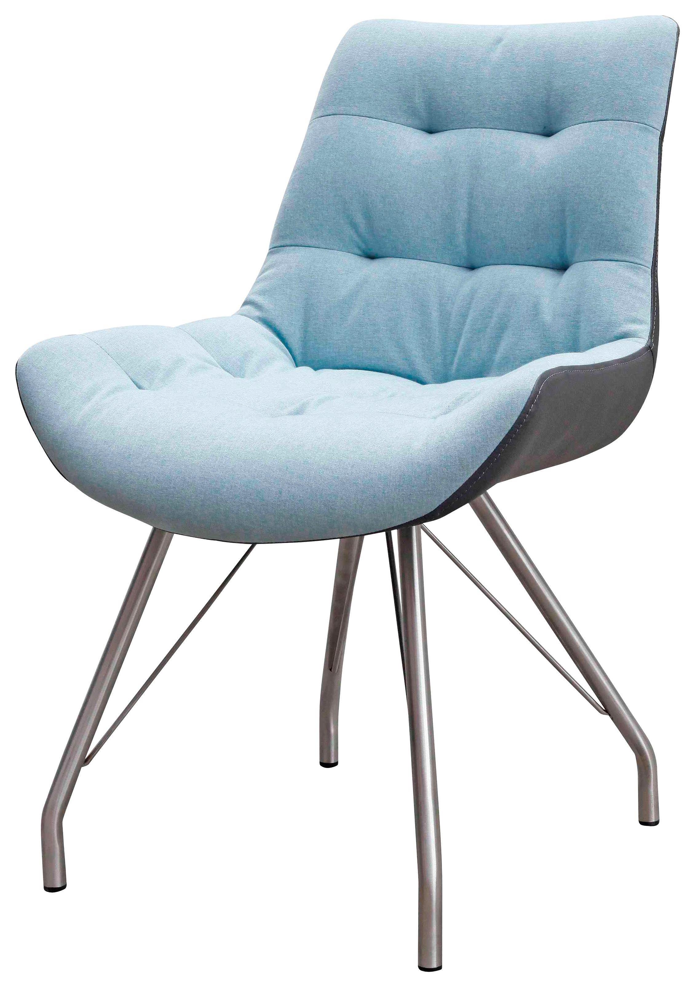 STUHL Webstoff Edelstahlfarben, Grau, Hellblau - Edelstahlfarben/Grau, Design, Textil/Metall (55,5/83/62,5cm) - HOM`IN