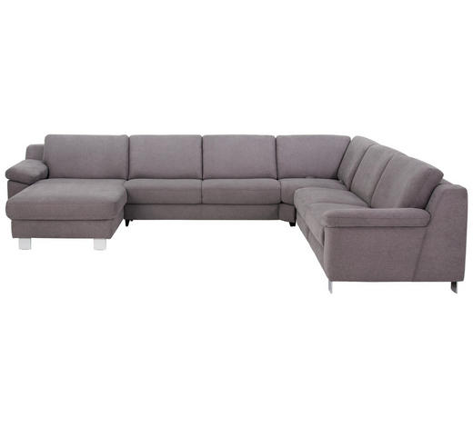 WOHNLANDSCHAFT in Textil Grau - Chromfarben/Grau, Design, Textil/Metall (166/364/278cm) - Valdera