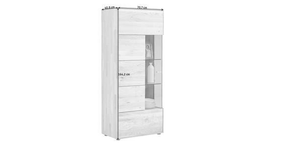 VITRINE Wildeiche massiv Eichefarben - Edelstahlfarben/Eichefarben, KONVENTIONELL, Glas/Holz (70,7/164,2/40,9cm) - Valnatura