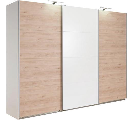 OMARA Z DRSNIMI VRATI, bela, hrast  - aluminij/bela, Design, leseni material (270/210/65cm) - Carryhome