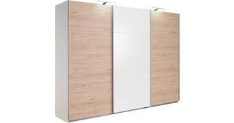 SCHWEBETÜRENSCHRANK in Weiß, Eichefarben  - Eichefarben/Alufarben, Design, Holzwerkstoff (270/210/65cm) - Carryhome