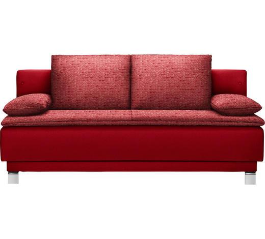 SCHLAFSOFA in Textil Rot  - Rot, Design, Textil/Metall (200/85/90cm) - Joka