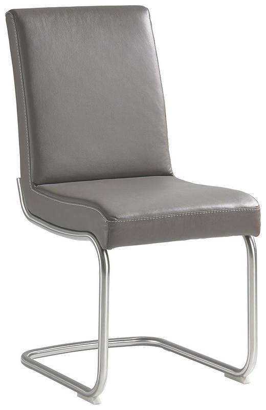 SCHWINGSTUHL Echtleder Grau, Silberfarben - Beige/Silberfarben, Design, Leder/Metall (45/94/66cm) - MODERANO