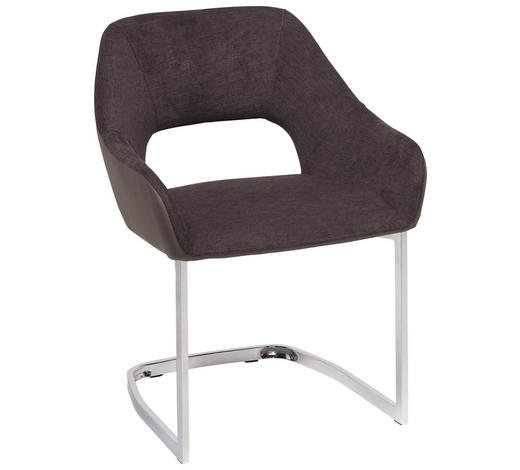 SCHWINGSTUHL in Metall, Textil Braun, Chromfarben - Chromfarben/Braun, Design, Textil/Metall (59/79/60cm) - Ti`me