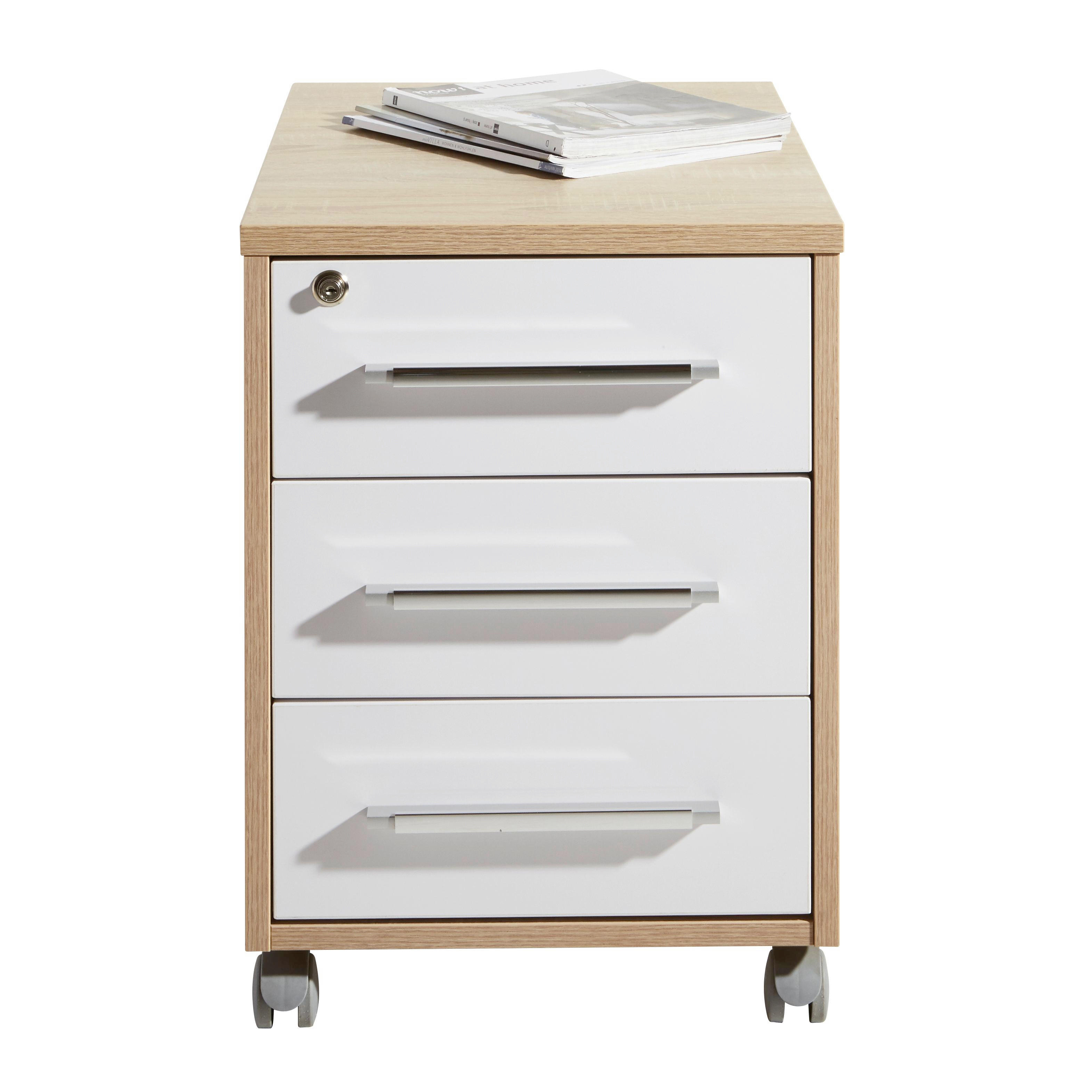 ROLLCONTAINER Eichefarben, Weiß - Eichefarben/Silberfarben, Design, Kunststoff (43/59/65cm)
