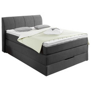 BOXSPRINGBETT Webstoff 140/200 cm  INKL. Bettkasten, Matratze, Topper - Anthrazit, KONVENTIONELL, Textil (140/200cm) - Carryhome