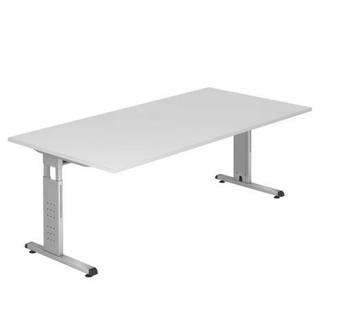 SCHREIBTISCH - Silberfarben/Weiß, KONVENTIONELL, Holzwerkstoff/Metall (200/65-85/100cm)