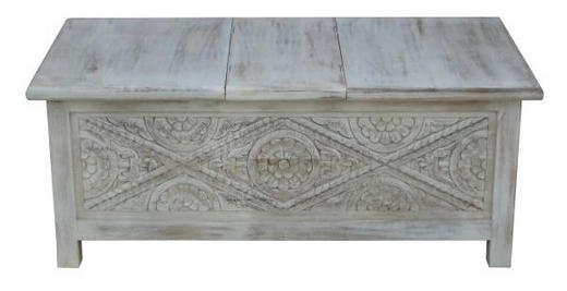 TRUHE Holz Mangoholz massiv - Weiß, Trend, Holz (115/45/65cm) - Ambia Home