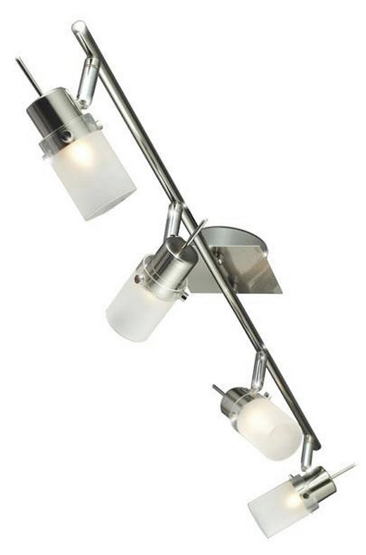 LED-STRAHLER - Weiß, Design, Glas/Metall (68cm)