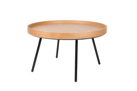 COUCHTISCH Eiche furniert rund Eichefarben - Eichefarben/Schwarz, Design, Holz/Metall (78/45cm)