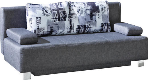 SCHLAFSOFA Webstoff Grau - Chromfarben/Anthrazit, Design, Textil/Metall (203/88/89cm) - Novel