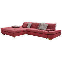 SEDACÍ SOUPRAVA, bordová, červená, textil - barvy dubu/bordová, Natur, dřevo/textil (204/341cm) - Xora