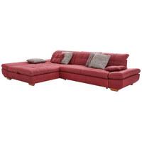 SEDACÍ SOUPRAVA, bordeaux, červená, textilie - bordeaux/barvy dubu, Natur, dřevo/textilie (204/341cm) - Xora