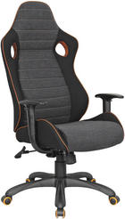 KONTORSSTOL - mörkgrå/orange, Design, metall/textil (64/120-130/65cm) - NOVEL