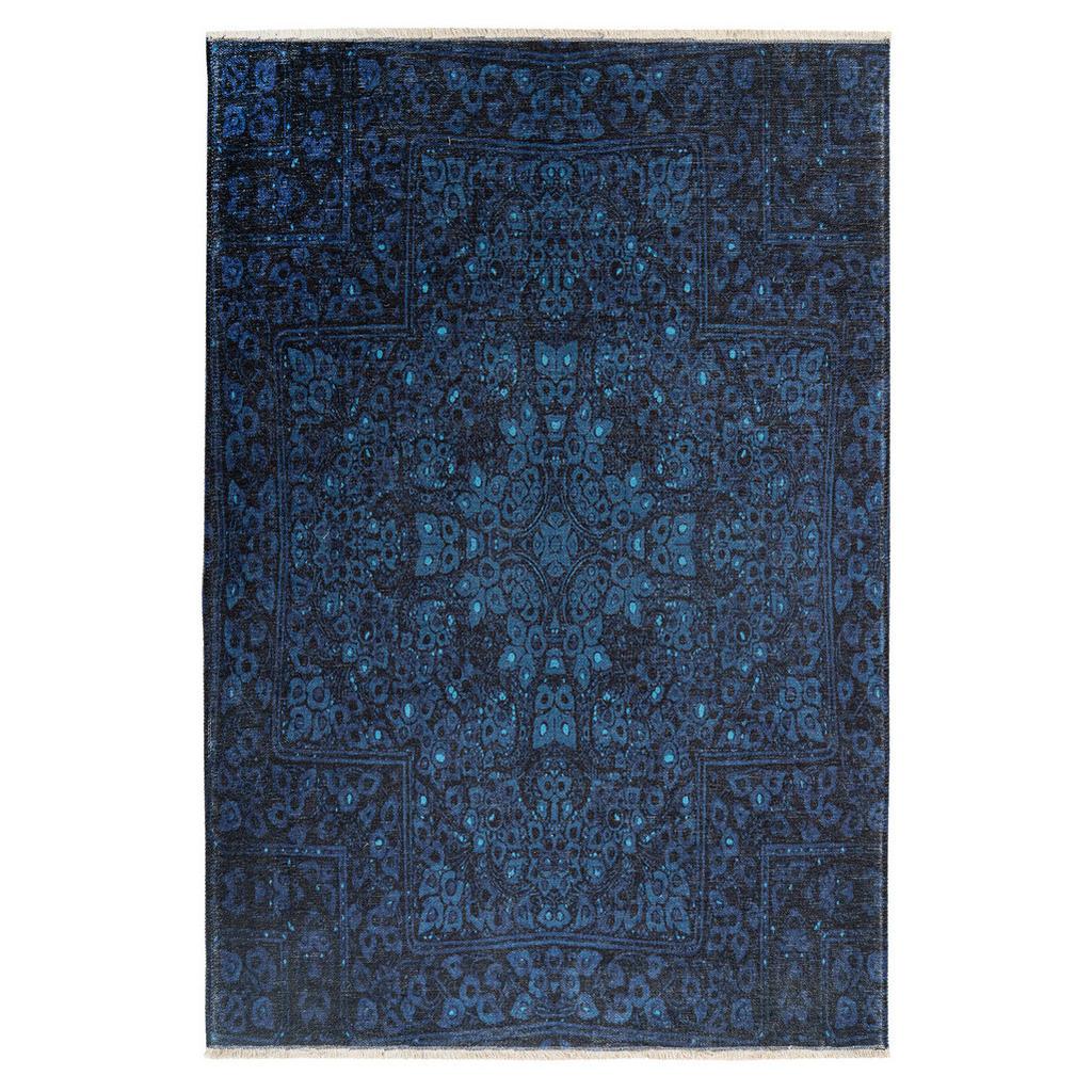 Novel Flachwebeteppich My Azteca , Blau , Textil , Ornament , rechteckig , 150 cm , Global RecycledStandard (Grs) , für Fußbodenheizung geeignet, lichtunempfindlich, pflegeleicht, leicht zusammenrollbar, rutschfeste Unterfläche , Teppiche & Böden, Teppiche, Moderne Teppiche
