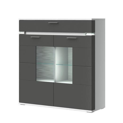 HIGHBOARD Melamin Graphitfarben, Weiß - Graphitfarben/Alufarben, Design, Glas/Holzwerkstoff (120,1/126,2/41cm) - Stylife