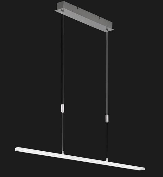 LED-HÄNGELEUCHTE - Weiß/Nickelfarben, Design, Kunststoff/Metall (114cm)