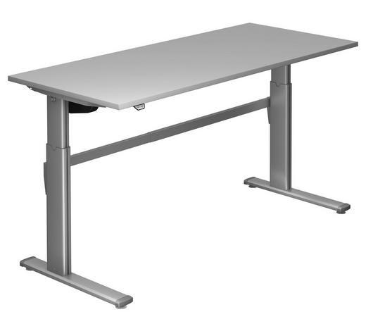 SCHREIBTISCH - Silberfarben/Grau, Design, Holzwerkstoff/Metall (180/72-119/80cm)