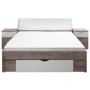 POSTELJNA GARNITURA  180 cm  x  200 cm , tekstil, leseni material bela, hrast  - bela/hrast, Design, tekstil/leseni material (180/200cm) - Carryhome
