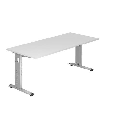 SCHREIBTISCH - Silberfarben/Weiß, KONVENTIONELL, Holzwerkstoff/Metall (180/65-85/80cm)