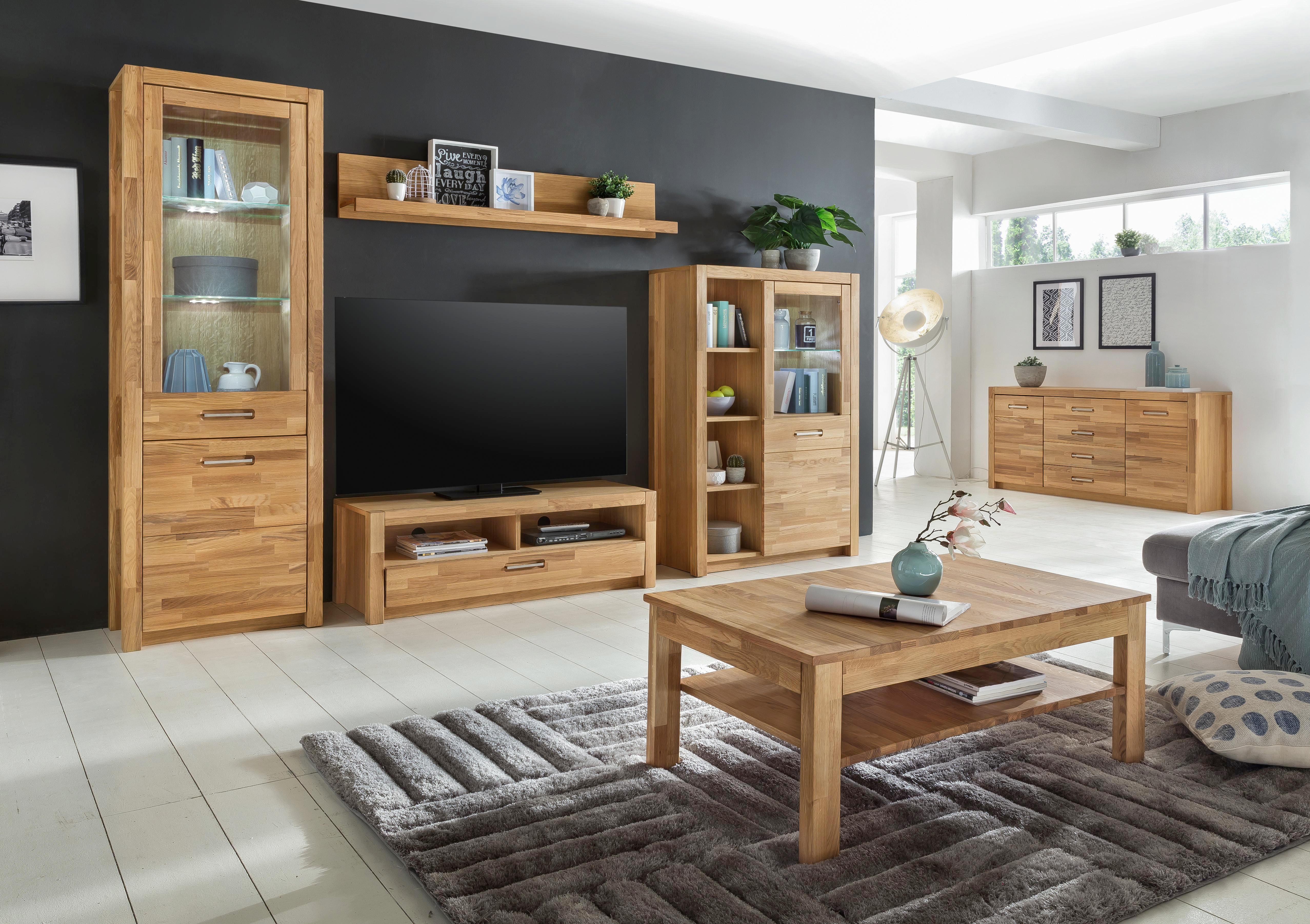 WANDBOARD Wildeiche massiv Eichefarben - Eichefarben, Design, Holz (150/27/22cm) - LANDSCAPE