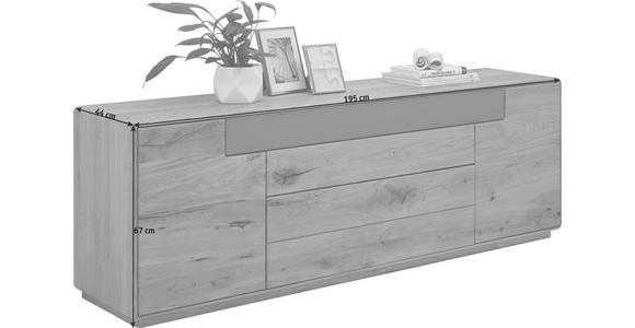 SIDEBOARD Wildeiche massiv gebürstet, lackiert Eichefarben, Schlammfarben - Schlammfarben/Eichefarben, Design, Glas/Holz (195/67/44cm) - Valnatura