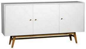 SIDEBOARD - vit/mässingfärg, Modern, metall/trä (169/87/42cm) - Rowico