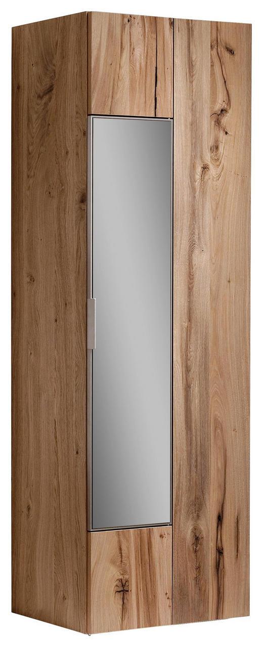GARDEROBENSCHRANK Altholz, Eiche furniert, mehrschichtige Massivholzplatte (Tischlerplatte) geölt Eichefarben - Eichefarben/Silberfarben, Design, Glas/Holz (64/194/42,5cm) - Voglauer