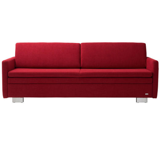 SCHLAFSOFA in Textil Rot  - Rot, KONVENTIONELL, Textil/Metall (216/84/92cm) - Sedda