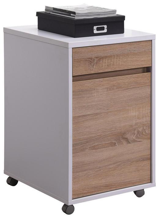 ROLLCONTAINER Sonoma Eiche, Weiß - Weiß/Sonoma Eiche, KONVENTIONELL, Holzwerkstoff/Kunststoff (45/76/60cm) - Carryhome