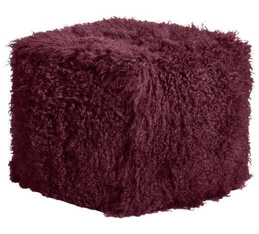HOCKER in Textil, Fell Weinrot - Weinrot, Textil/Fell (60/40/60cm)