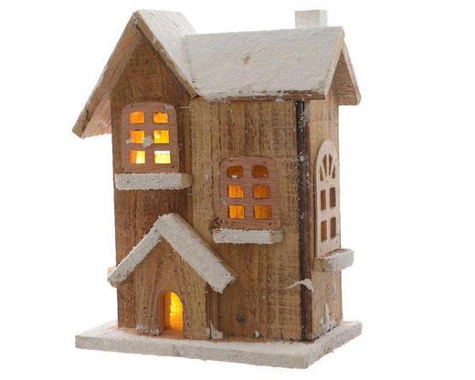 LED-Weihnachtshäuschen  Braun - Braun, Basics, Holz (22/26/12,5cm)