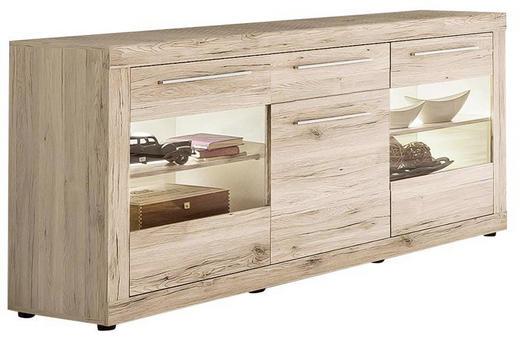 SIDEBOARD Eichefarben, Weiß - Eichefarben/Silberfarben, Design, Holzwerkstoff/Kunststoff (168/86/41cm) - Carryhome