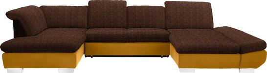WOHNLANDSCHAFT in Textil Gelb, Orange  - Chromfarben/Gelb, Design, Kunststoff/Textil (211/350/204cm) - Xora