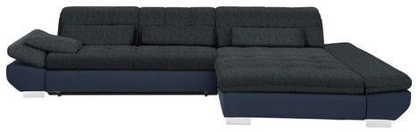 WOHNLANDSCHAFT in Textil Blau, Schwarz - Chromfarben/Blau, Design, Kunststoff/Textil (341/204cm) - Xora