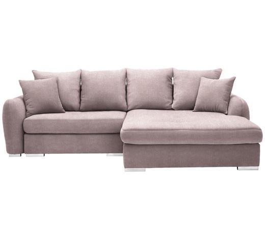 WOHNLANDSCHAFT in Textil Rosa  - Chromfarben/Rosa, Design, Kunststoff/Textil (275/195cm) - Carryhome