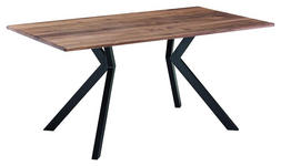 ESSTISCH in Holz, Metall 160/90/76 cm - Nussbaumfarben/Schwarz, KONVENTIONELL, Holz/Metall (160/90/76cm) - Venda