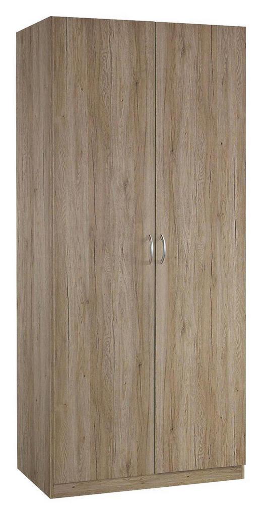 DREHTÜRENSCHRANK 2-türig Eichefarben - Eichefarben/Silberfarben, Design, Holzwerkstoff/Kunststoff (91/197/54cm) - Carryhome