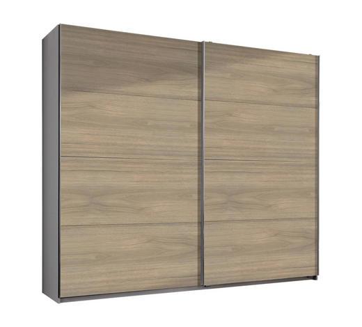 SCHWEBETÜRENSCHRANK in Weiß, Eichefarben - Eichefarben/Alufarben, Design, Holzwerkstoff (225/210/65cm) - Carryhome