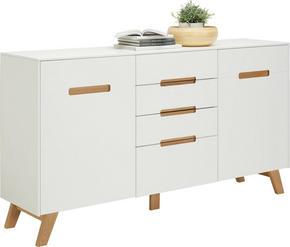 SIDEBOARD - vit/ekfärgad, Design, trä/träbaserade material (168,5/93,5/41cm) - Hom`in