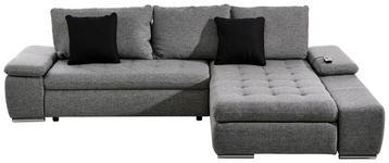 WOHNLANDSCHAFT in Grau, Schwarz Textil - Chromfarben/Schwarz, Design, Kunststoff/Textil (300/200cm) - Hom`in