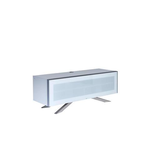 TV-ELEMENT 130/49/45 cm  - Edelstahlfarben/Weiß, Design, Glas/Holzwerkstoff (130/49/45cm)