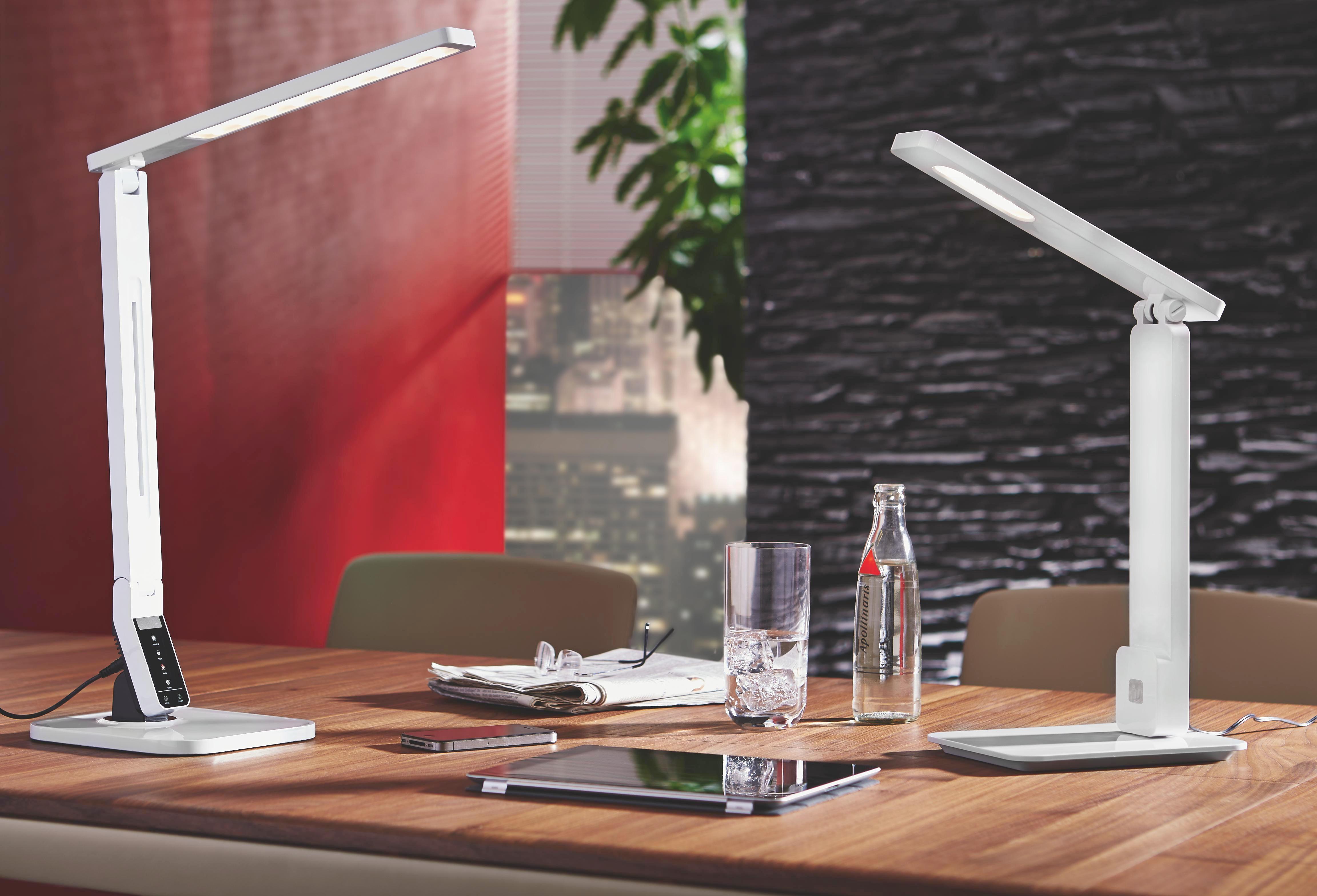 LED-SCHREIBTISCHLEUCHTE - Weiß, Design, Kunststoff (17/45cm) - NOVEL
