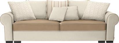 BIGSOFA Mikrofaser Beige, Hellbraun - Hellbraun/Beige, Trend, Kunststoff/Textil (256/74-90/106cm) - Hom`in