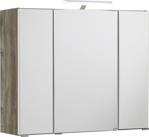 SPIEGELSCHRANK Eichefarben - Eichefarben/Silberfarben, Design, Glas/Holzwerkstoff (80/64/20cm) - Carryhome