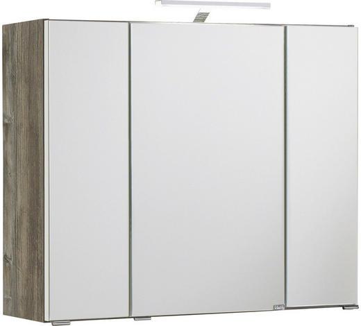 SPIEGELSCHRANK Eichefarben  - Eichefarben/Silberfarben, KONVENTIONELL, Glas/Holzwerkstoff (80/64/20cm) - Carryhome